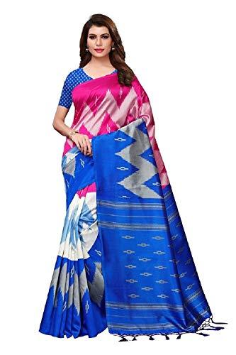 Indian bollywood wedding saree indisch Ethnic hochzeit sari new kleid damen casual tuch birthday crop top mädchen cotton silk women plain traditional party wear readymade Kostüm (Blue)