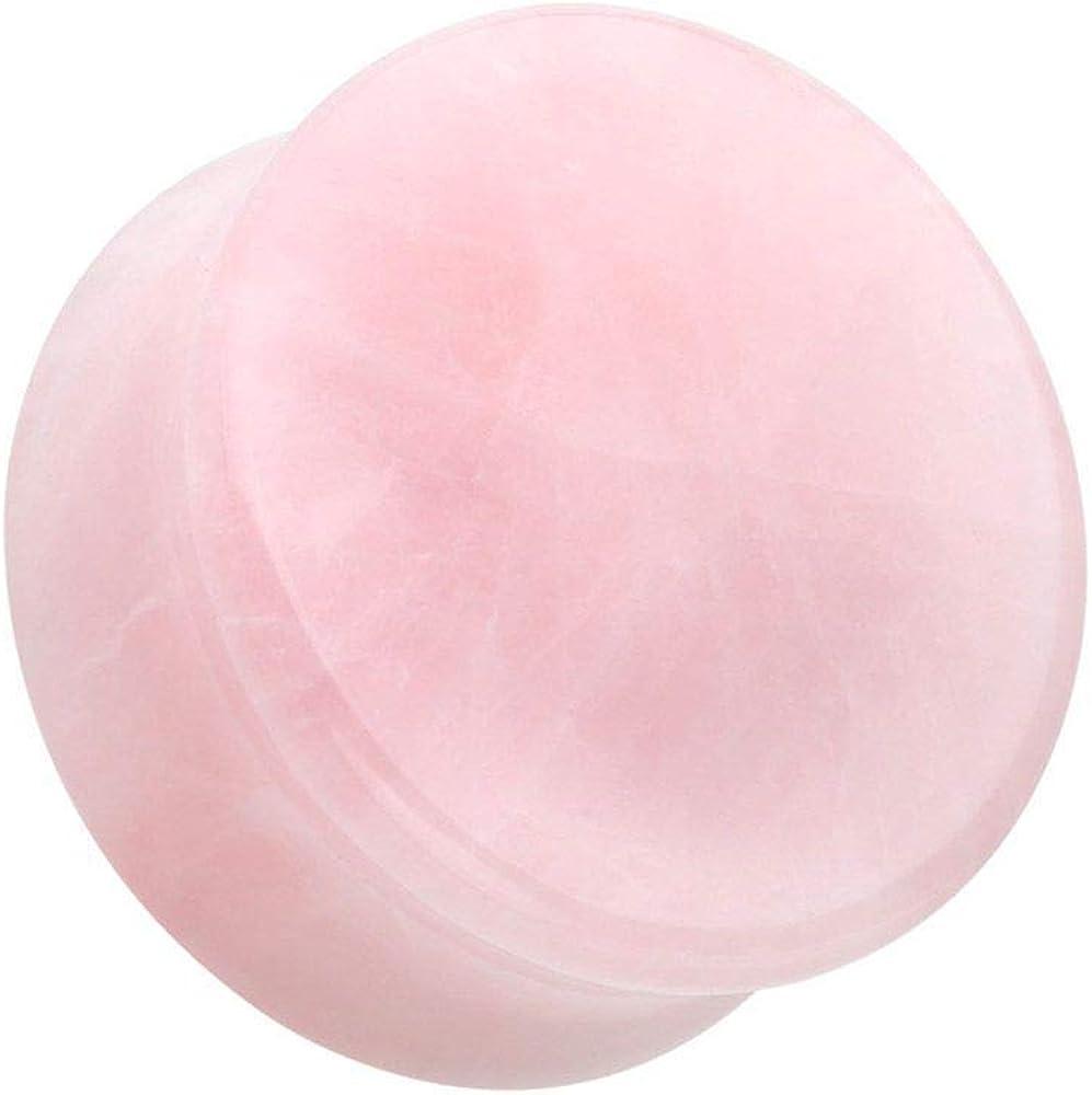 Covet Jewelry Pink Rose Quartz Natural Stone Double Flared Ear Gauge Plug