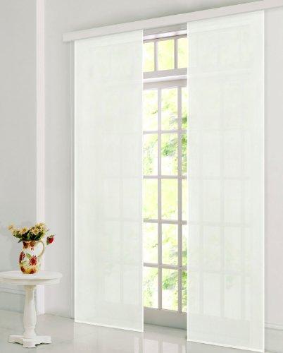 Gardinenbox Flächenvorhang, Schiebegardine Blickdicht matt, Creme, aus Micro Satin (Mikrofaser Gewebe), mit Paneelwagen und Beschwerungsstange -85600-, 85600