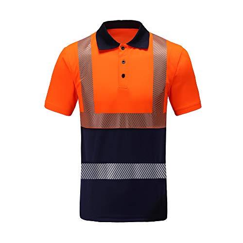AYKRM Hi Viz Vis Hoge Zichtbaarheid Poloshirt Reflecterende Tape Veiligheid Werk Knop T-Shirt Ademend Lichtgewicht Dubbele Tape Werkkleding Top