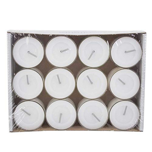 Wenzel-Kerzen Highlights 12h Teelichte, Paraffin, weiß, 3,7 x 3,7 x 4,3 cm, 12-Einheiten