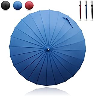 Manual Open & Close Umbrella Long Umbrella with 24 Ribs, Durable and Strong Enough for The Wind and Rain, Easy to Carry on Your Back by Its Own Bag