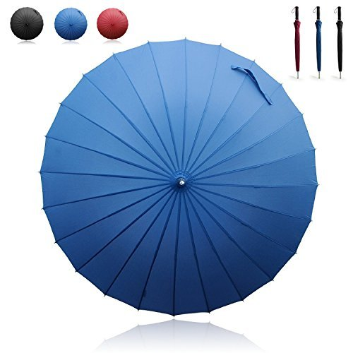 Becko Manual Open & Close Umbrella Long Umbrella with 24 Ribs, Durable and Strong Enough for The Wind and Rain, Easy to Carry on Your Back by Its Own Bag (Blue)