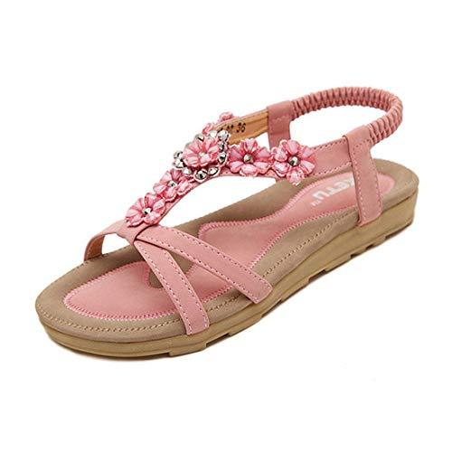 SHIBEVER Summer Flat Gladiator Sandals for Women Comfortable Casual Beach Shoes Platform Bohemian Beaded Flip Flops Sandals Pink-2 8