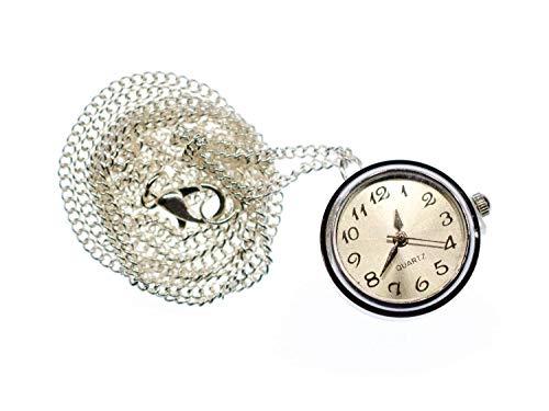 Miniblings Reloj de pulsera que funciona con cadena, con botón a presión, 45 cm, hecho a mano, cadena plateada