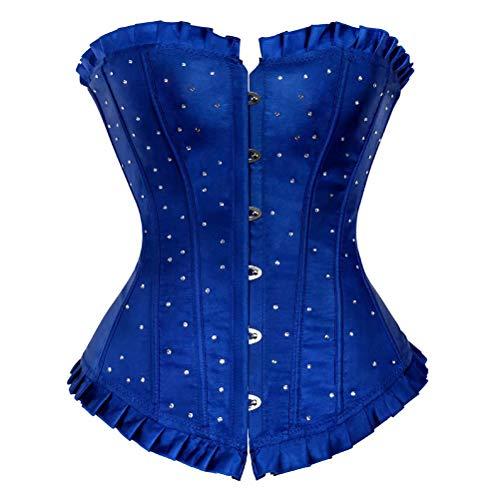 Josamogre Corset Disfraz Mujer Bustier Diamante Overbust Corsé Burlesque Cosplay Lingerie Top Halloween Grande Taille Azul 5XL (Ropa)