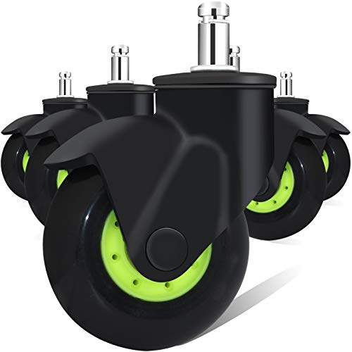 3 Inch Office Chair Caster Wheels, Black Green Rubber Swivel Casters Wheels Fit Most Desk Chair, Game Chair, Soft Heavy Duty Replacement Casters Set of 5, Safe for All Floors (Hardwood Floor,Carpet)