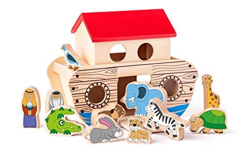 Woody 90917 - Juego de mesa (13 piezas, madera), diseño del Arca de Noé