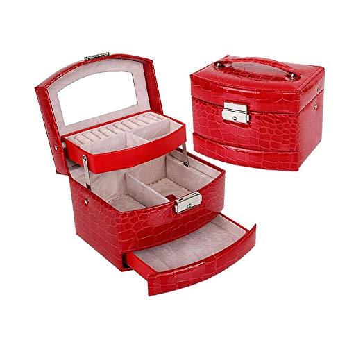 WNN -URG - Bolsa de almacenamiento de cosméticos, piel sintética, diseño de cocodrilo, 3 capas, bolsa de cosméticos, caja con cerradura, pendientes, collar, pulsera, multicapa, URG