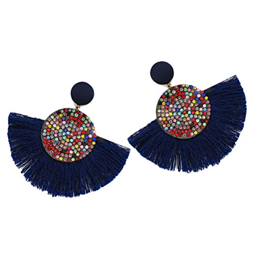 Neborn Pendientes de borla bohemio declaración de lujo pendiente largo día de san valentín hecho a mano mujeres geométricas flecos moda rhinestone grande (azul marino)