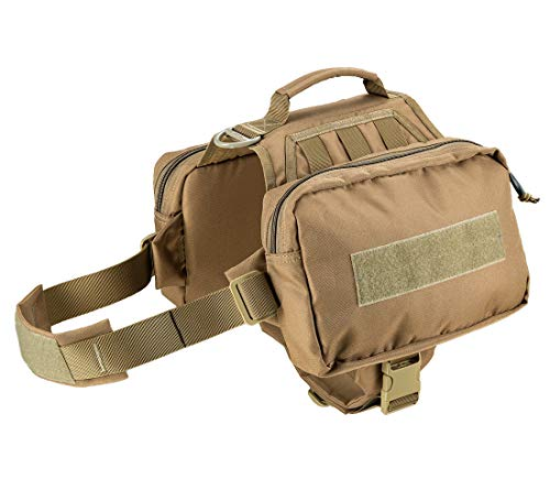 JiePai Military Dog Pack Hound Travel Camping Hiking Backpack Saddle Bag Rucksack for Medium & Large Dog Vest with 2 Pockets (Advanced Version Coyote Brown, M/L)