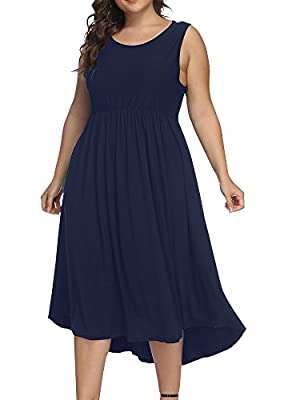 Allegrace Women Plus Size Sleeveless Casual Cocktail Dress Pleated Party Long Dresses