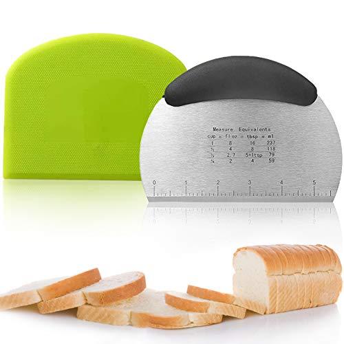 2 Stück Teigschneider Teigschaberkarte,teigschaberkarte teigspachtel,Dough Scraper Card,Edelstahl Teigschaber,teigschaberkarte silikon Set,teigschaberkarte,Dough Scraper