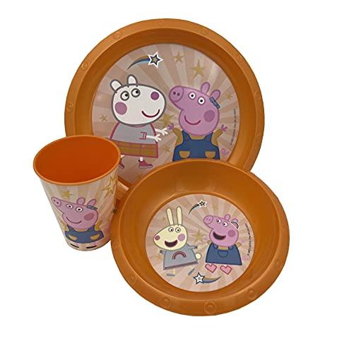 MAXIMN Set vajilla melamina de Pepa Pig, Libre de BPA, Plato, Bol, Vaso.
