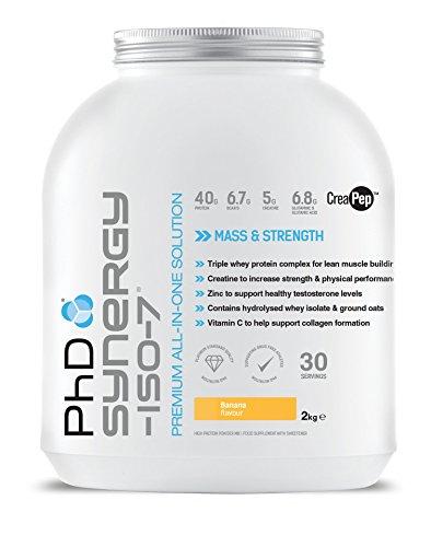 Phdit Phd Nutrition Synergy Iso-7, Polvere Di Proteine Del Siero Di Latte Premium All-In-One, Alto Complesso Proteico Da 40G, Gusto Banana Come Bevanda Pre/Post Allenamento (2 Kg) - 2050 g
