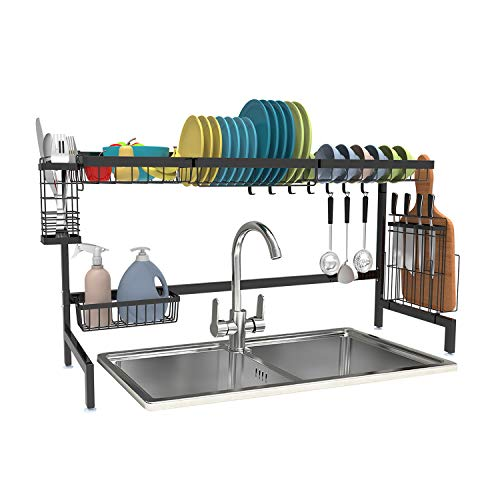 Over the Sink Dish Drying Rack Shop Again Dish Drying Rack Dish Drainer Stainless Steel for Organization Storage Space Saver Utensil Holder Cutting Board Holder Kitchen Counter Storage Rack Black