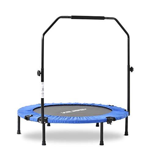Merax Fitness-Trampolin,Trampolin faltbar,Home Übung Trampolin,höhenverstellbarer Haltegriff Jumping Trampolin,Ø102cm,für Indoor/Outdoor,Nutzergewicht bis 120kg (Blau)