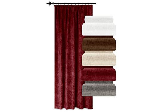 Home Decoration Verdunklungsvorhang Inuit Made in Germany – energiesparend – Thermo-Chenille – schallisolierend + wärmeisolierend + verdunkelnd, rot