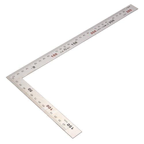 Regla cuadrada métrica de 150 x 300 mm Regla de esquina de ángulo de 90 grados de acero inoxidable