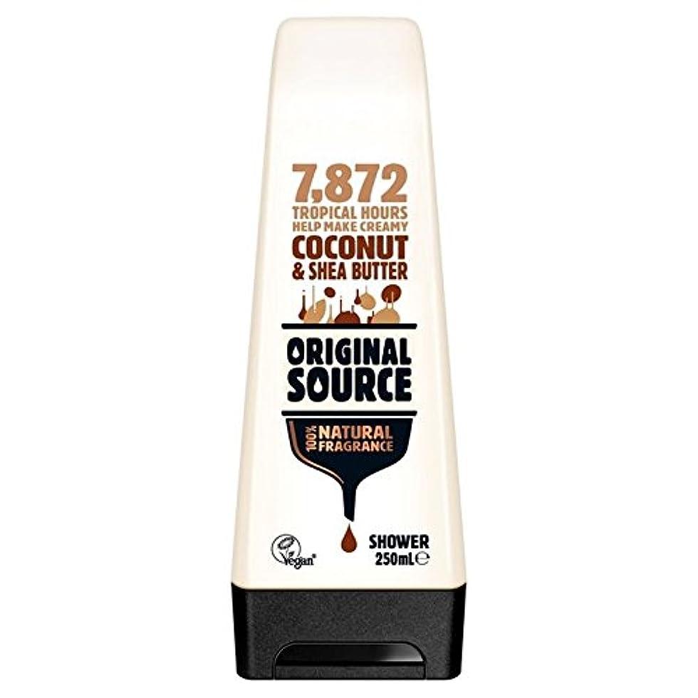 緑けん引ミス元のソース保湿ココナッツ&シアバターシャワージェル250ミリリットル x4 - Original Source Moisturising Coconut & Shea Butter Shower Gel 250ml (Pack of 4) [並行輸入品]