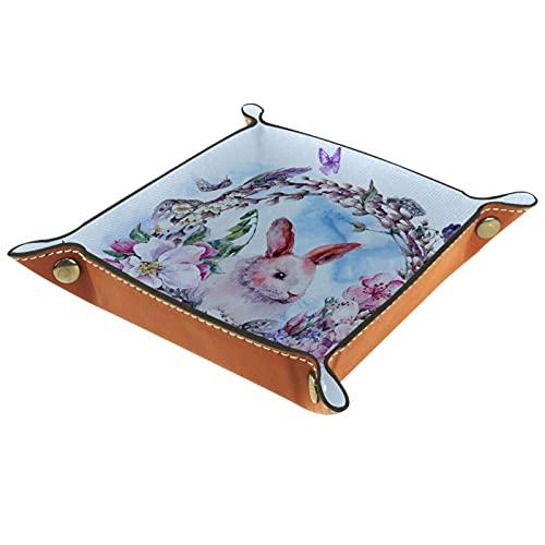 Caja de almacenamiento pequeña, bandeja de valet para hombre,Guirnalda de Pascua feliz de la primavera de la acuarela ,Organizador de cuero para llaves de caja de monedas
