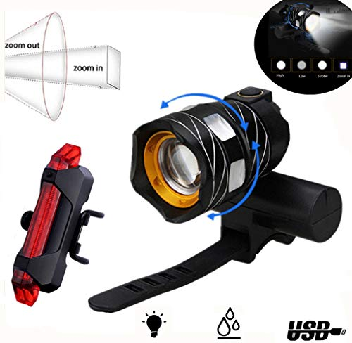 Abcty 2019 Version USB Rechargeable Bike Headlight Set  Powerful 1200 Lumens LED Bicycle Headlight amp Tail Light  4 Light Mode Fits All Bicycles Road Waterproof IPX4 Adjustable Focal LengthBlack