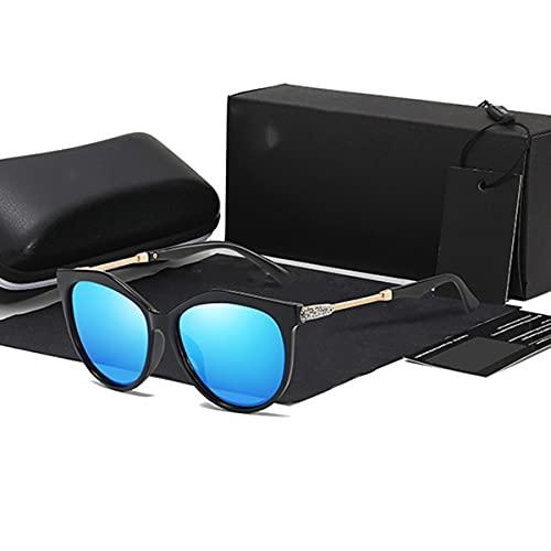 TYTG Gafas de sol polarizadas Hd para mujer, de moda, redondas, vintage, mujeres, gafas de sol, artículos para uso diario (Color del marco: caja de cuero completa, color de las lentes: azul-220 V)