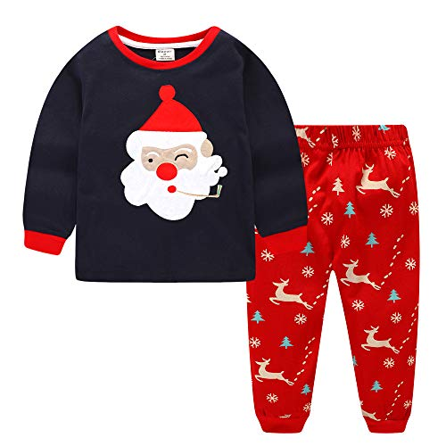 Dizoony Navidad Pijamas Niños Ropa Navideñas Suéter Rayado Algodón Camisetas 2-13 Años (AzulMarino, 7 Años)