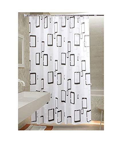 Rubyia Badevorhang Waschbar, Rechteck Motiv Bad Duschvorhang mit Duschvorhangringen, Peva, Weiß, 300 x 200 cm