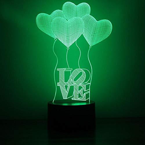 Yujzpl 3D-illusielamp Led-nachtlampje, USB-aangedreven 7 kleuren Knipperende aanraakschakelaar Slaapkamer Decoratie Verlichting voor kinderen Kerstcadeau-Hou van ballon