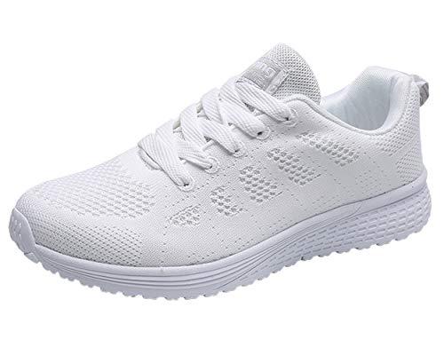 Decai Mujeres Zapatillas de Deportivos de Running para Mujer Gimnasia Ligero Sneakers Malla Transpirable con Cordones Zapatillas Deportivas para Correr Fitness Atlético Caminar Zapatos Blanco 38 EU