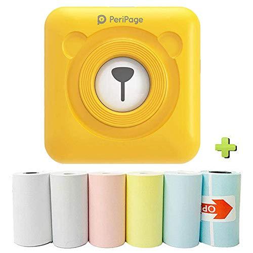 Souarts Tragbarer Notizen Drucker Thermo Bluetooth Etikettendrucker,mit 6 Druckpapier Drahtloser Wärmebild Fotodrucker Mini Taschendrucker Kompatibel mit Smartphones(Gelb)
