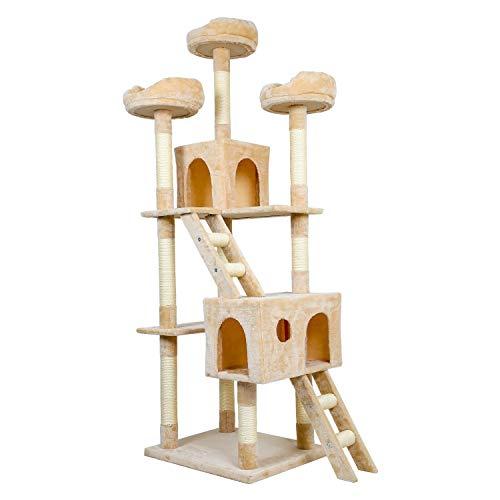 Meerveil Kratzbaum XL XXL, großer Kletterbaum mit Kratzsisal, Stabiler Kratzbaum Katzenbaum, Säulen mit Natürlicher Sisal Umwickelt (Beige)