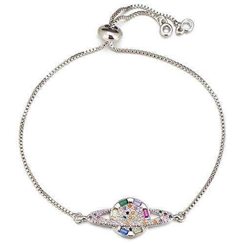 Hand Bangle Bracelets Jewellery For Womens Jewelry Women Ladies Planet Bracelet Cubic Zirconia Crystal Slider Chain Satu