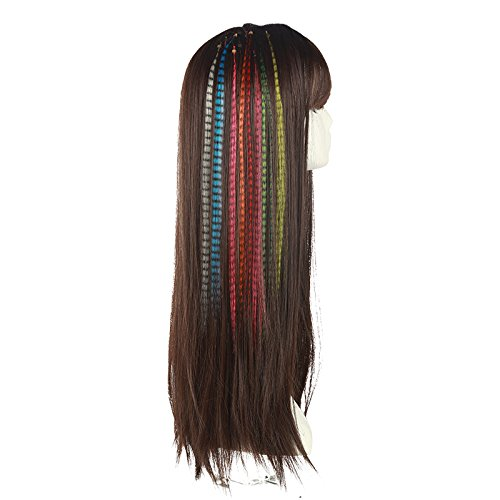 "SARLA Syntheic Feather Hair Extensions 16"" 100pcs I-tip Highlight Colored Colorful Hair Extension Hairpieces For Girl Hair Piece (Hair extension, green) 3"