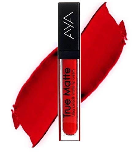 AYA True Matte Liquid Lipgloss Lipstick, Red, 6ml, With Resme Eyeliner