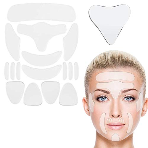 RSMAO Anti-Wrinkle Revitalising Patch, Facial Wrinkle Patches, Anti-Ageing Facial Line Filler Silicone Chest Sticker, Reusable Forehead Eye Chin Face Patchfor Rejuvenated Skin Elasticity