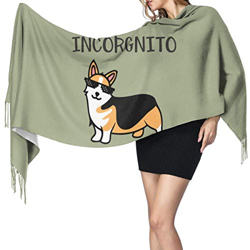 Yuanmeiju Chal cálido abrigo Incorgnito Corgi bufanda de cachemira chal grande clásico invierno bufanda