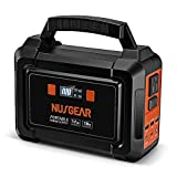 NusGear 167Wh Portable Power Station, 45000mAh Camping Solar Generators Lithium Battery Power Supply with 110V AC Outlet, 2 DC Ports, USB QC3.0, LED Flashlights for CPAP Home Camping Emergency Backup