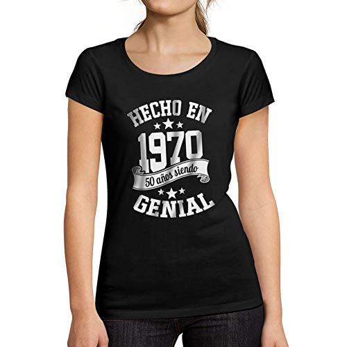 Ultrabasic® Camiseta de Manga Corta de Mujer Hecho en 1970 Cumpleaños de 51 años 50 años de ser Impresionante Camiseta Negro Profundo