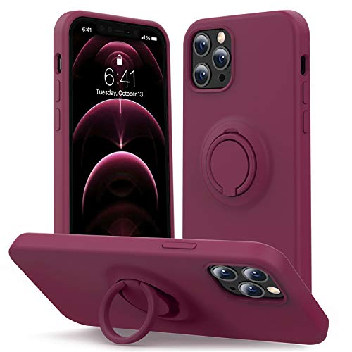 MHH Compatible with iPhone 12 Case & iPhone 12 Pro Case [ Liquid Silicone with Kickstand ]   Microfiber Liner   Slim Full Body Duty Heavy Protective Cover Case for Women - WineRed