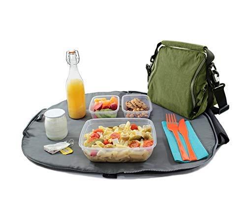Roll'eat - Eat'n'Out Premium | Sac à Collation Etanche, Transformable en Nappe, Réutilisable, Ecologique avec Fermeture Éclair et sans BPA, Vert