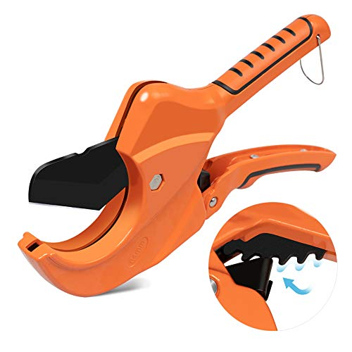 AIRAJ Ratchet PVC Pipe Cutter,Cuts up to 2-1/2'PEX,PVC,PPR and Plastic Hoses,Pipe Cutters with Sharp SK5 Stainless Steel Blades,Suitable for Home Repairs and Plumbers
