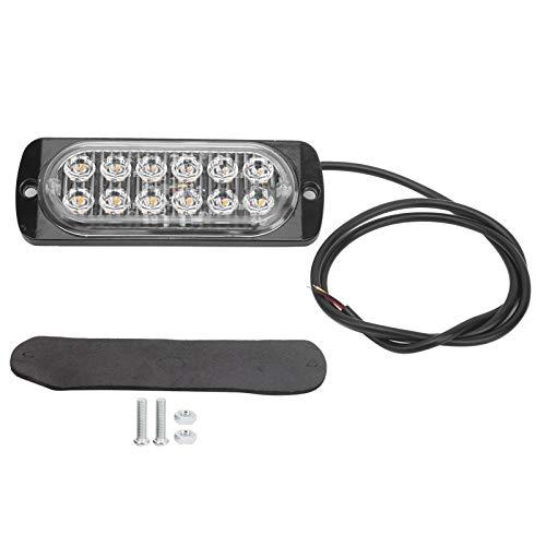 Luz de destello del coche, 12V 12LED ABS Luz estroboscópica de destello de aluminio Lámpara de señal de advertencia de emergencia Iluminación amarilla para automóvil, motocicleta, camión