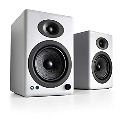 Audioengine A5+ 150W Wireless Bookshelf Speakers | Built-in Analog Amplifier | aptX HD Bluetooth 24 Bit DAC, RCA and 3.5mm inputs | Solid Aluminium Remote Control | Cables included (Bluetooth, White) by Audioengine