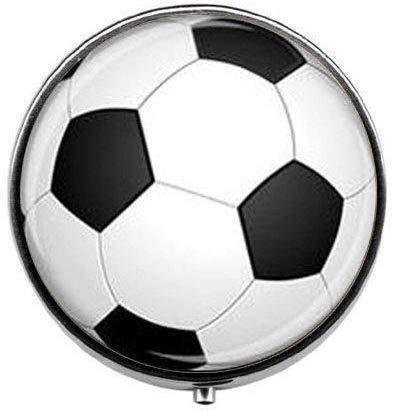 Pillendose mit Fußball-Motiv, Geschenk, PE-Geschenk, für Lehrer und Mutter, Schmuck für Sport, Coach, Schmuck, Fußball, Geschenk