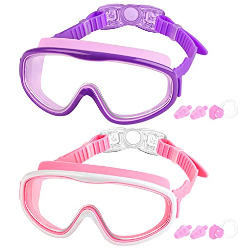 COOLOO 2-PACK Kids Swimming Goggles, Kids Swim Goggles Junior Children...
