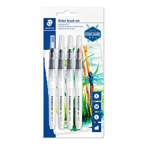 STAEDTLER Design Journey 949-SBK4-CST, Water Brush, Blíster con Cuatro Pinceles de Agua, Blanco