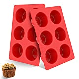 Jumbo Muffin Pan, 6 Cup Large Silicone Cupcake Baking Cups-Deep Size, EU-Level Non-Stick Muffin Molds for Baking, 2 Pack Jumbo Muffin Tins, Bpa Free