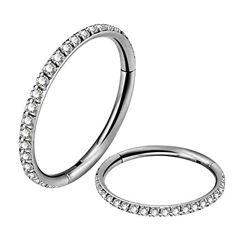 OUFER 16G Titanium Helix Earring Hoop Daith Piercings Cartilage Earring CZ Line Conch Tragus Nose Ring Body Jewellery for Women 10mm